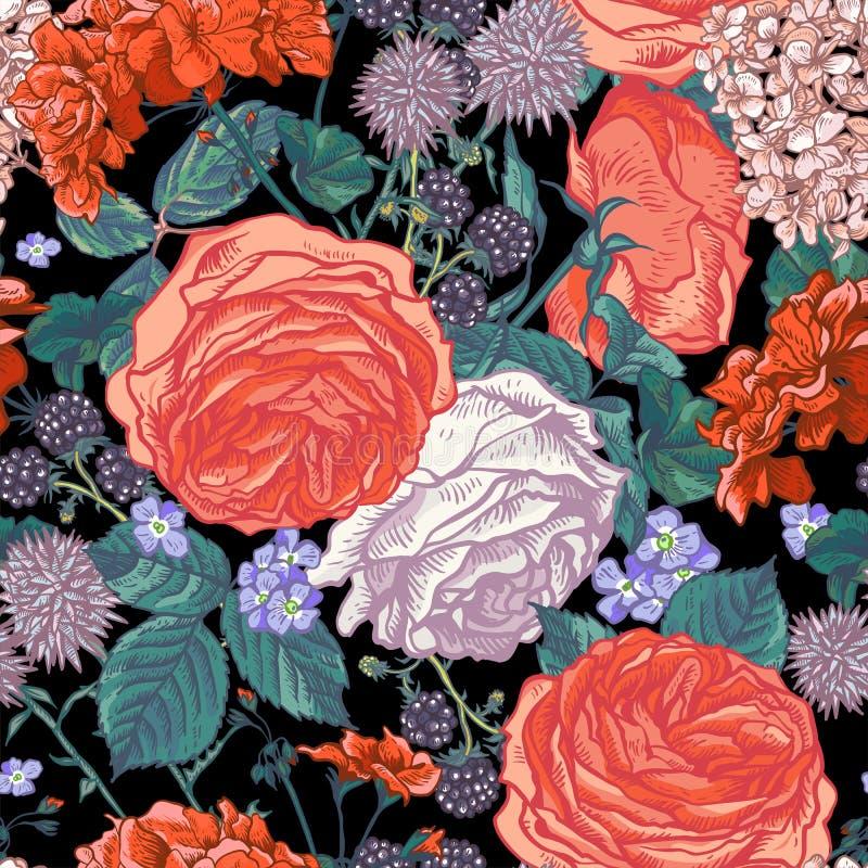 Teste padrão sem emenda floral com rosas de florescência ilustração stock