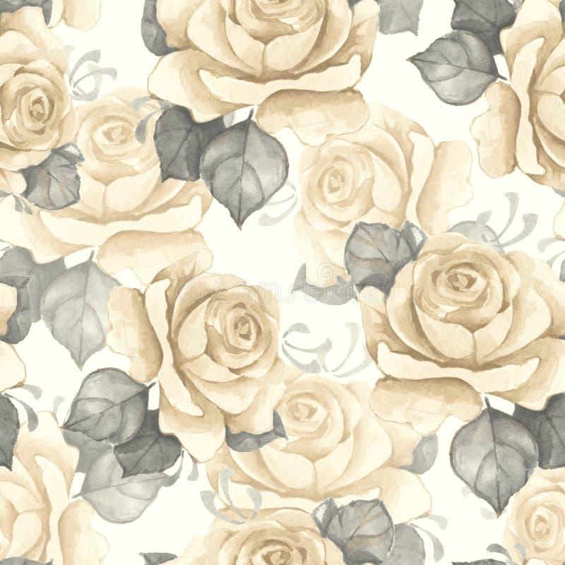 Teste padrão sem emenda floral da aguarela Rosas do vintage ilustração stock