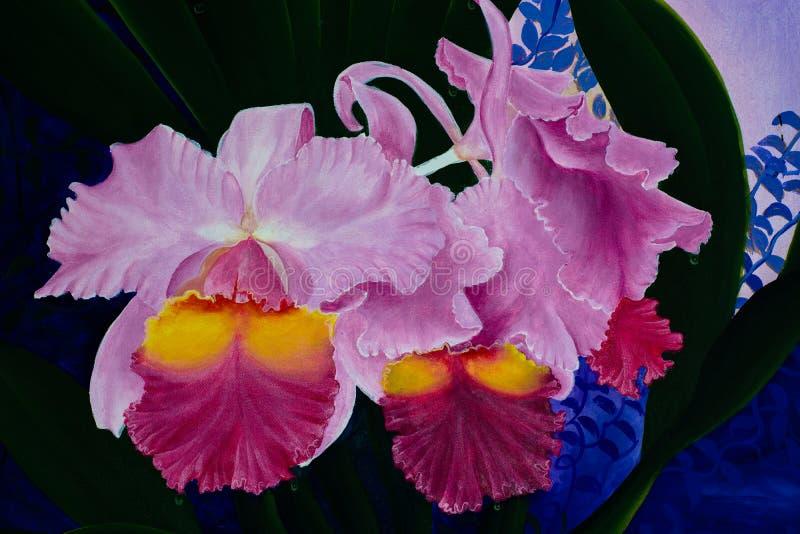 Teste padrão sem emenda floral da aquarela com flores da orquídea imagem de stock royalty free