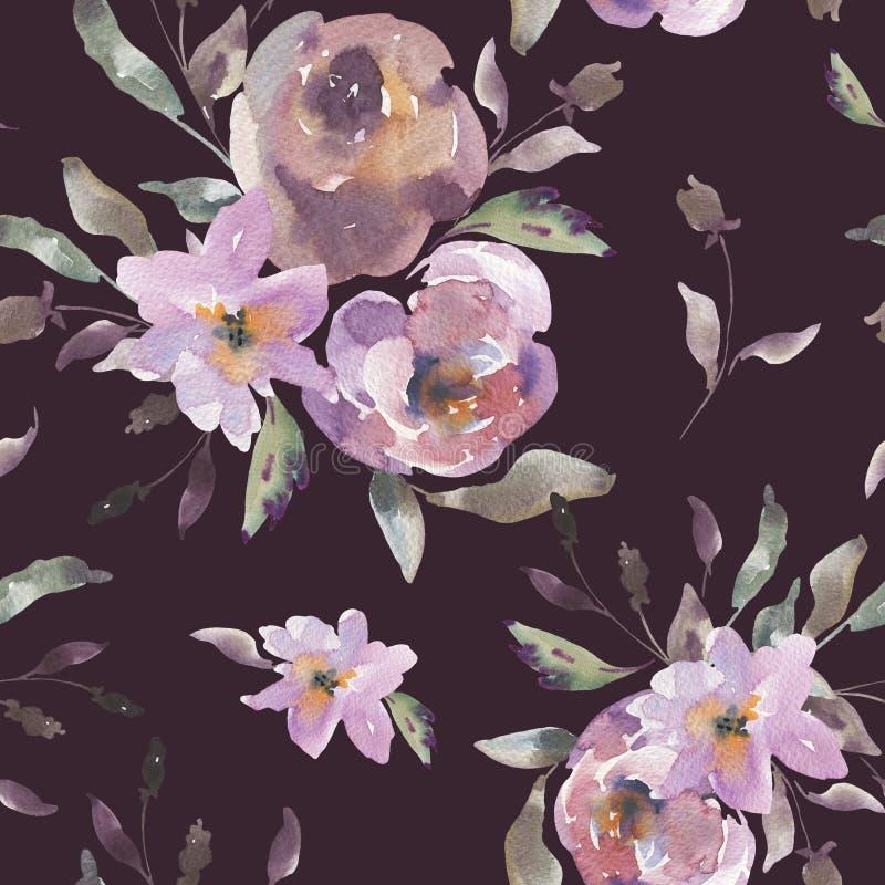 Teste padrão sem emenda floral da aquarela gasto do vintage, rosas da aquarela em cores cor-de-rosa da poeira ilustração stock