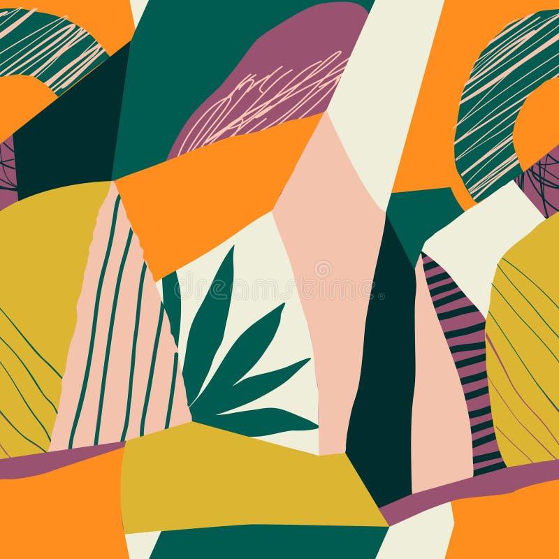Teste padrão sem emenda floral da colagem contemporânea Ilustração exótica moderna dos frutos e das plantas da selva no vetor ilustração do vetor