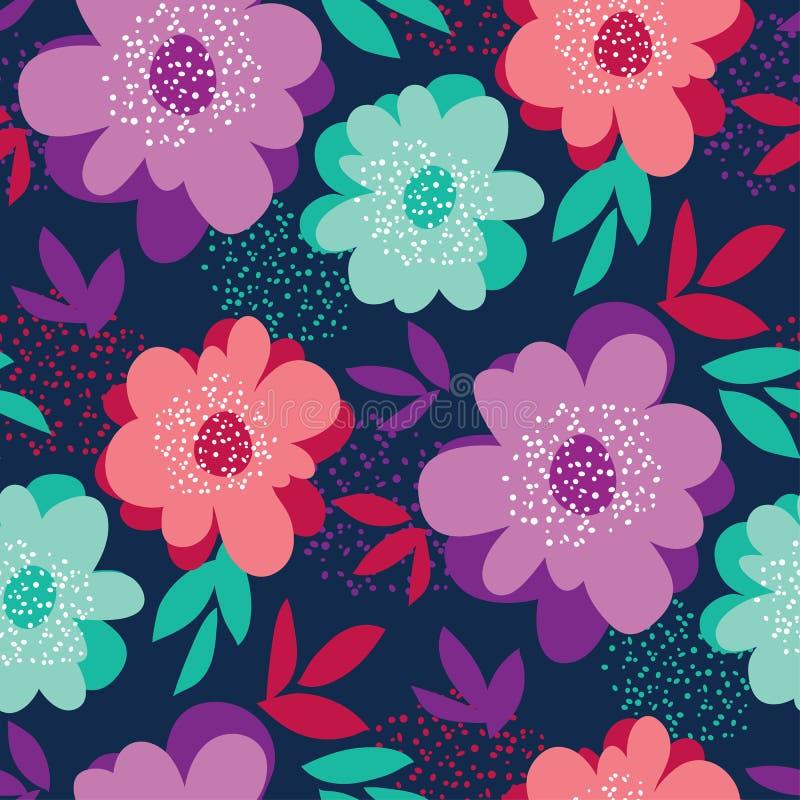 Teste padrão sem emenda floral da cor vívida do verão ilustração do vetor