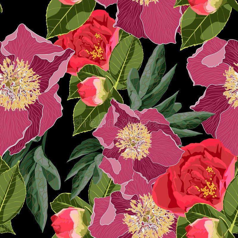 Teste padrão sem emenda floral da flor da união da mola Fundo do vintage wallpaper ilustração stock