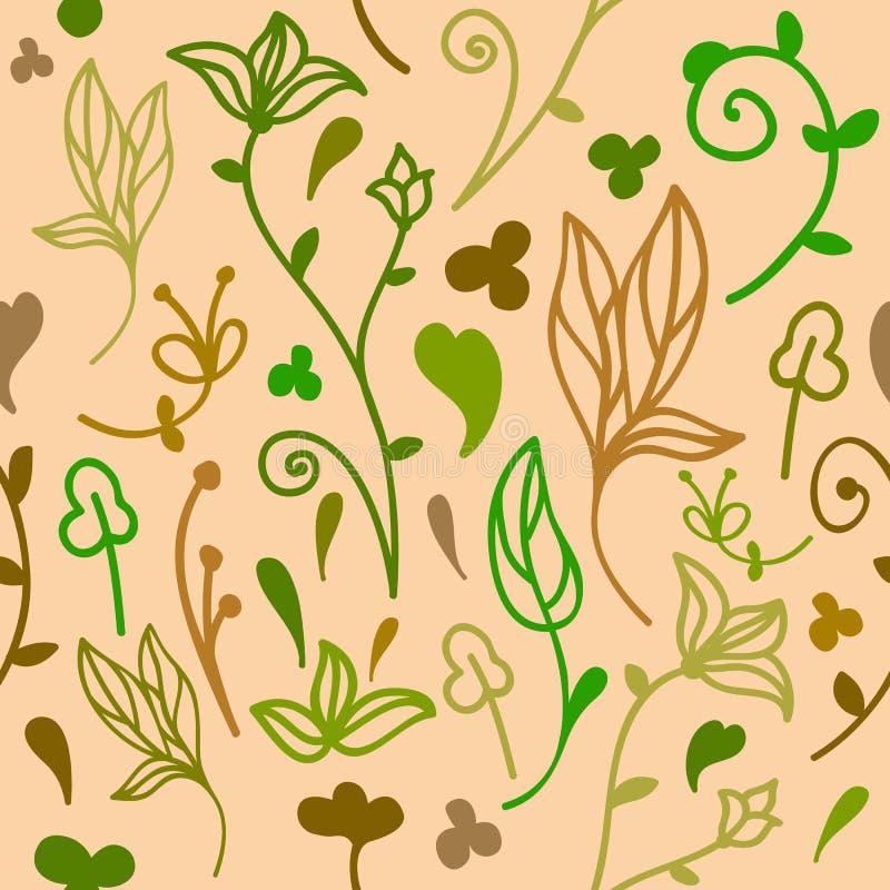 Teste padrão sem emenda floral da garatuja bonito ilustração do vetor