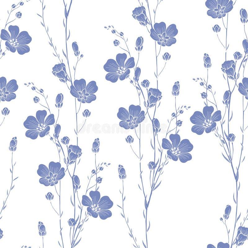 Teste padrão sem emenda floral da planta do linho ilustração stock
