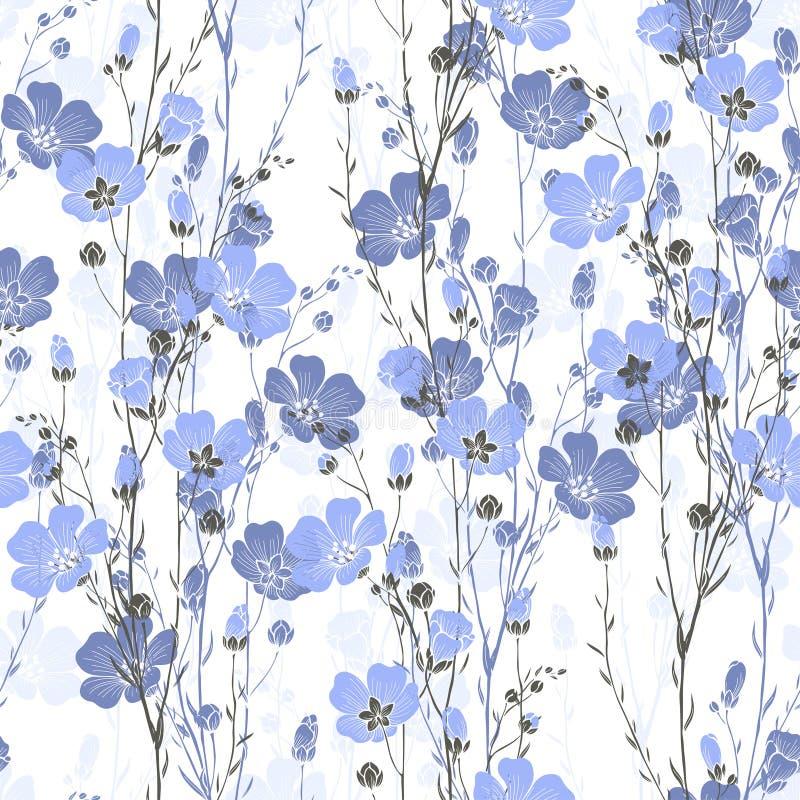 Teste padrão sem emenda floral da planta do linho com flores e botões ilustração royalty free