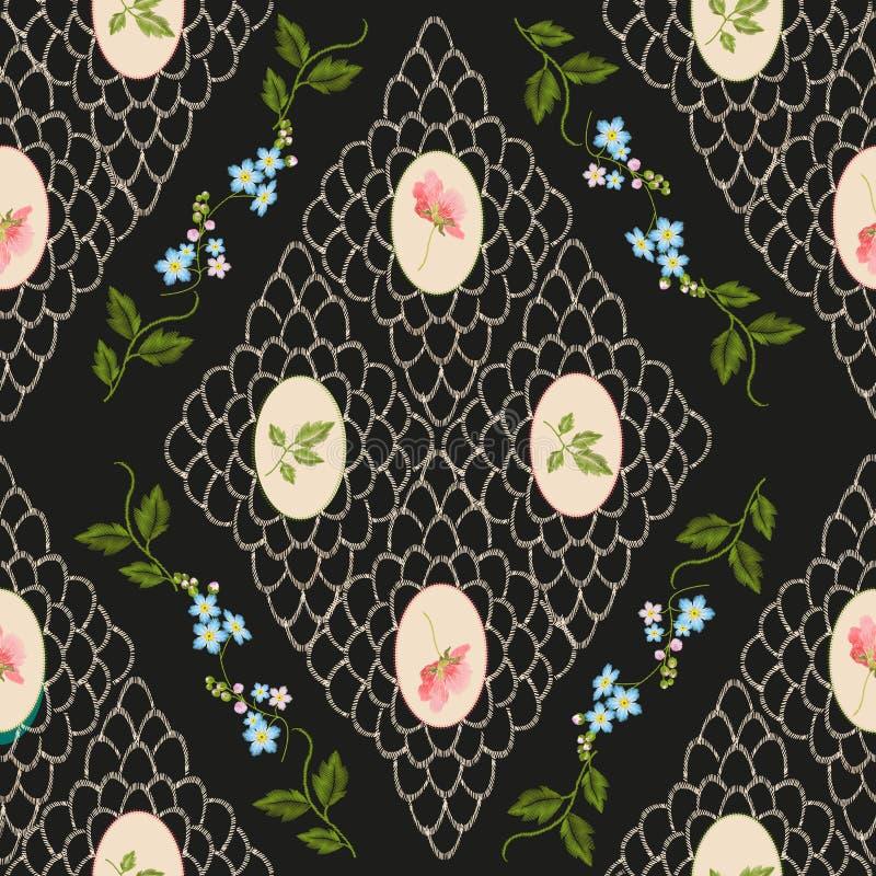 Teste padrão sem emenda floral da tendência do vintage do bordado ilustração royalty free