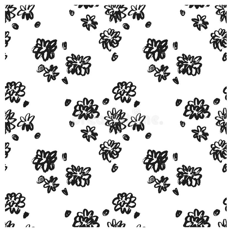 Teste padrão sem emenda floral da tinta de Ector Teste padrão sem emenda moderno Textura preto e branco no molde da escova Teste  ilustração do vetor
