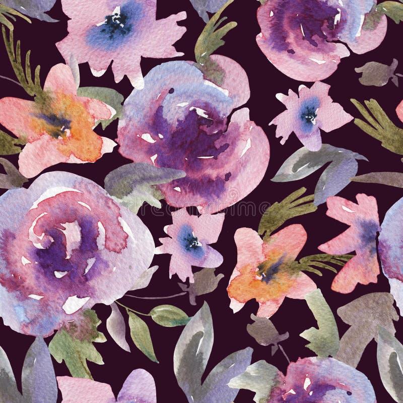 Teste padrão sem emenda floral das rosas roxas delicadas da aquarela ilustração royalty free