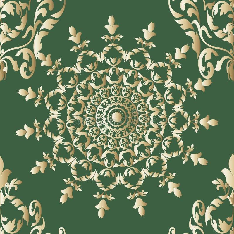 Teste padr?o sem emenda floral decorativo da mandala do vetor do ouro Fundo verde do eleganct do vintage Linha de superf?cie orna ilustração royalty free