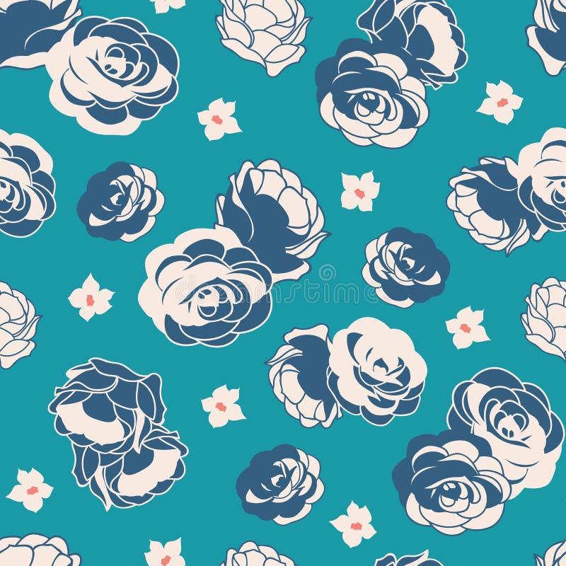 Teste padrão sem emenda floral ditsy da repetição do vetor do jardim de rosas azul ilustração royalty free