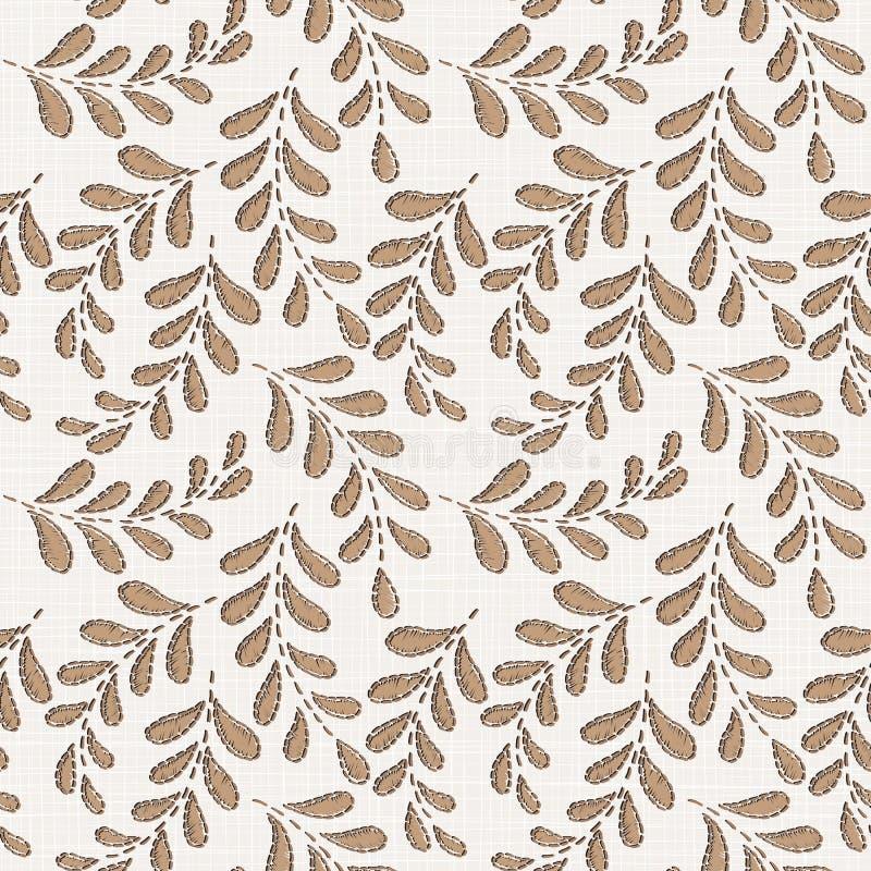 Teste padrão sem emenda floral do bordado na textura de pano de linho ilustração royalty free