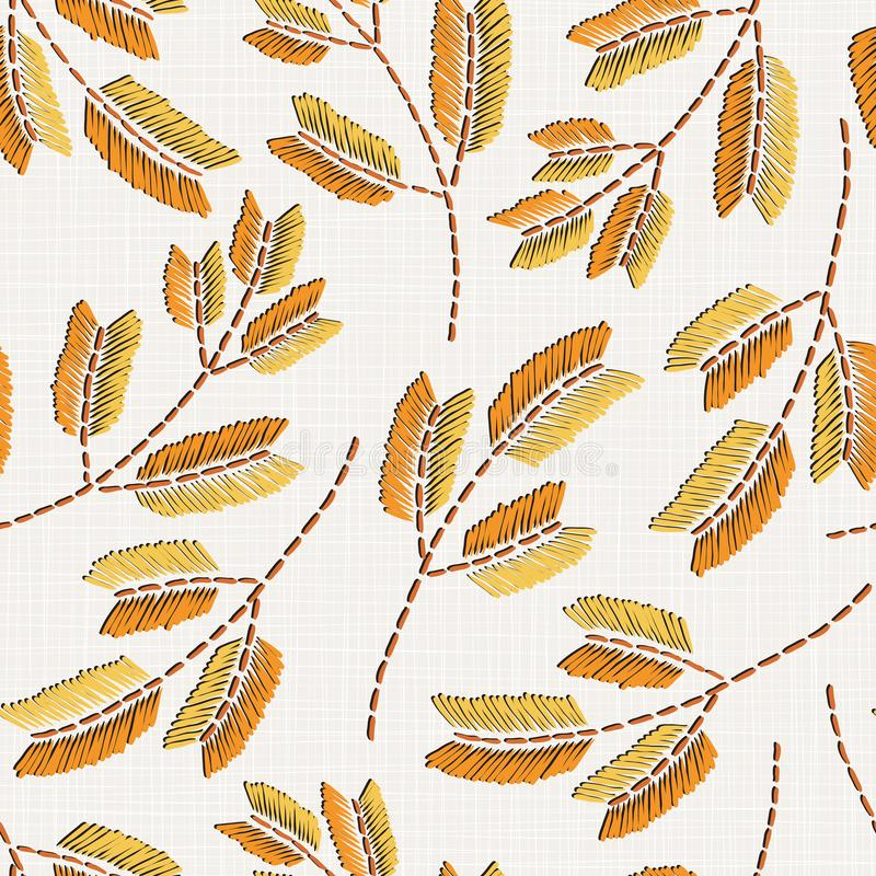 Teste padrão sem emenda floral do bordado na textura de pano de linho ilustração stock