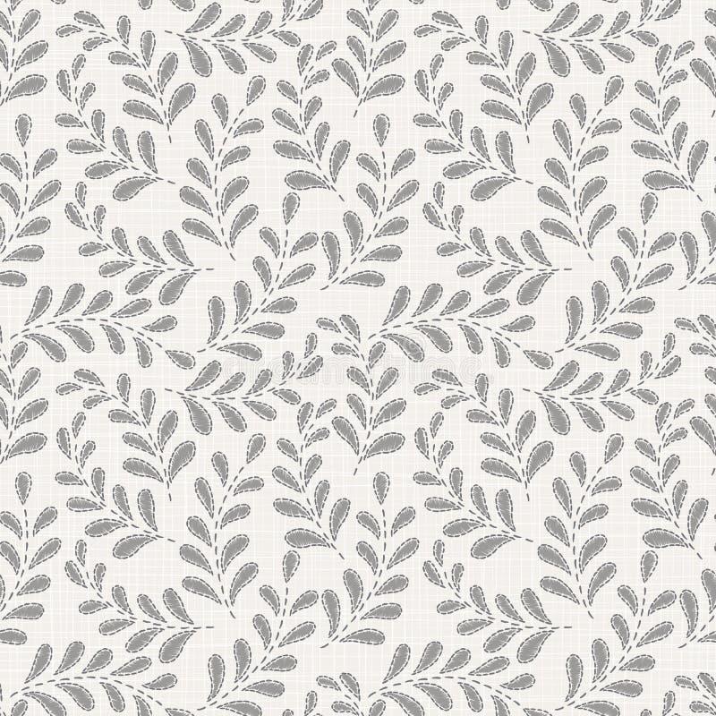 Teste padrão sem emenda floral do bordado na textura de pano de linho ilustração do vetor