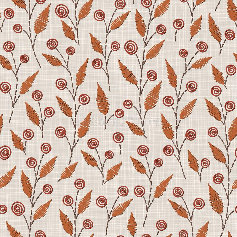 Teste padrão sem emenda floral do bordado na textura de pano de linho para a matéria têxtil, decoração home, forma, tela costura  ilustração stock