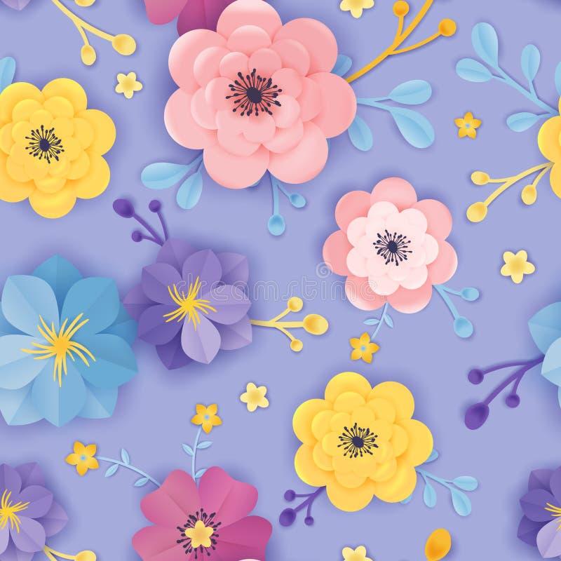 Teste padrão sem emenda floral do corte de papel Projeto botânico para a tela, textura do fundo das flores do origâmi da mola, có ilustração royalty free