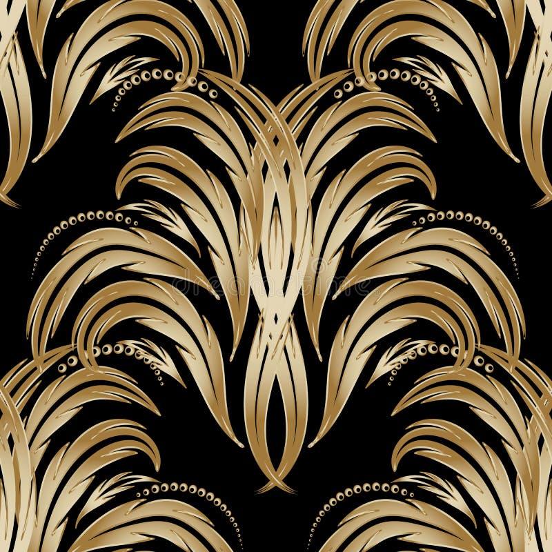 Teste padrão sem emenda floral do damasco do ouro Vint tirado mão do ouro do vetor ilustração stock