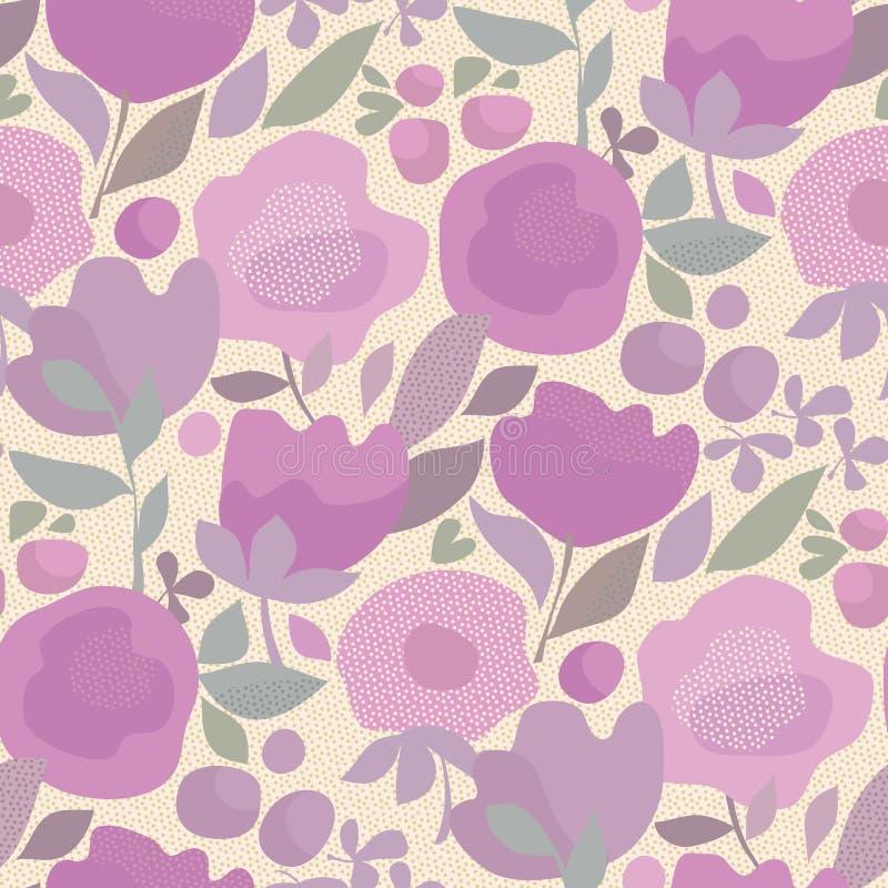 Teste padrão sem emenda floral do estilo violeta elegante do boho da cor ilustração royalty free