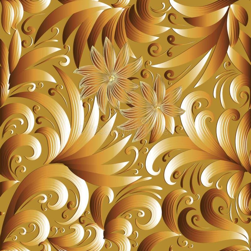 Teste padrão sem emenda floral do ouro 3d Fundo do vetor com garatuja s ilustração stock