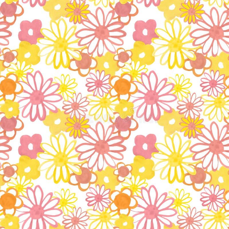 Teste padrão sem emenda floral do rosa, o amarelo e o alaranjado Teste padrão boêmio do vintage no estilo 60s e 70s Flower power ilustração stock