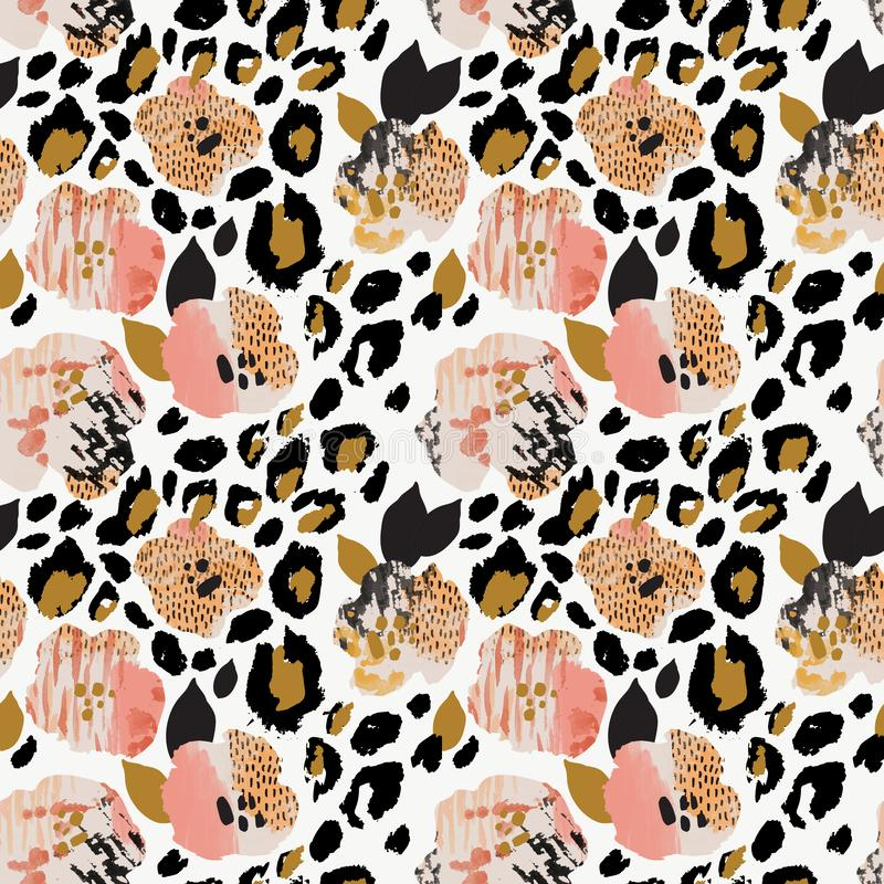 Teste padrão sem emenda floral do sumário: flores com listras da zebra, cópia da pele do leopardo ilustração do vetor
