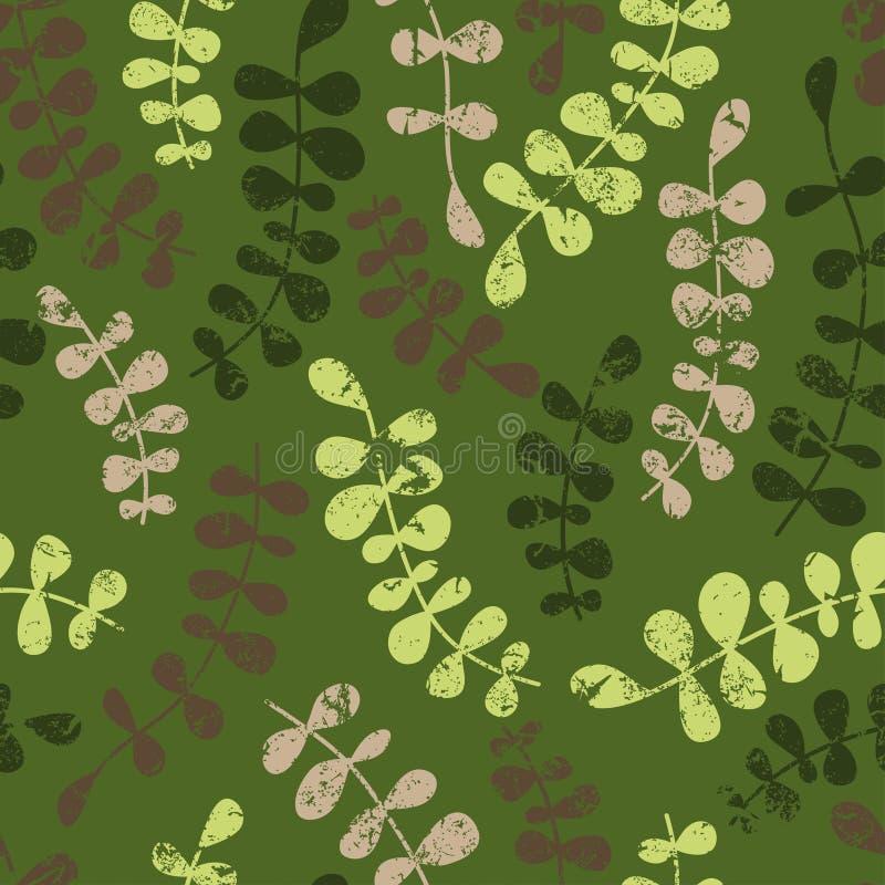 Teste padrão sem emenda floral do vetor com folhas abstratas Vecto da cor ilustração royalty free
