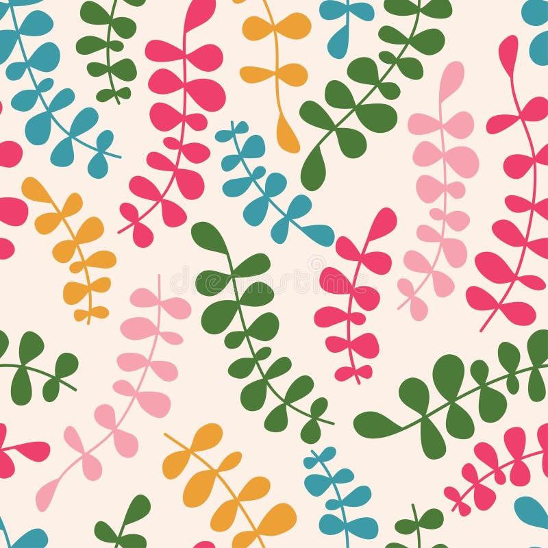 Teste padrão sem emenda floral do vetor com folhas abstratas Vecto da cor ilustração stock