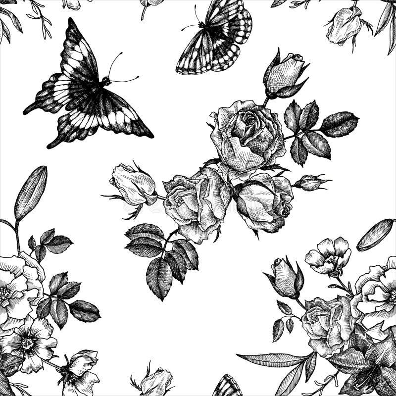 Teste padrão sem emenda floral do vetor do vintage ilustração royalty free