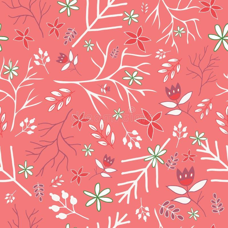 Teste padrão sem emenda floral do vintage cor-de-rosa do inverno ilustração do vetor