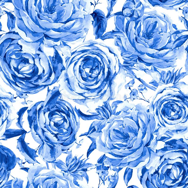 Teste padrão sem emenda floral do vintage monocromático azul da aquarela das rosas, ramalhete da aquarela das rosas e Wildflowers ilustração do vetor