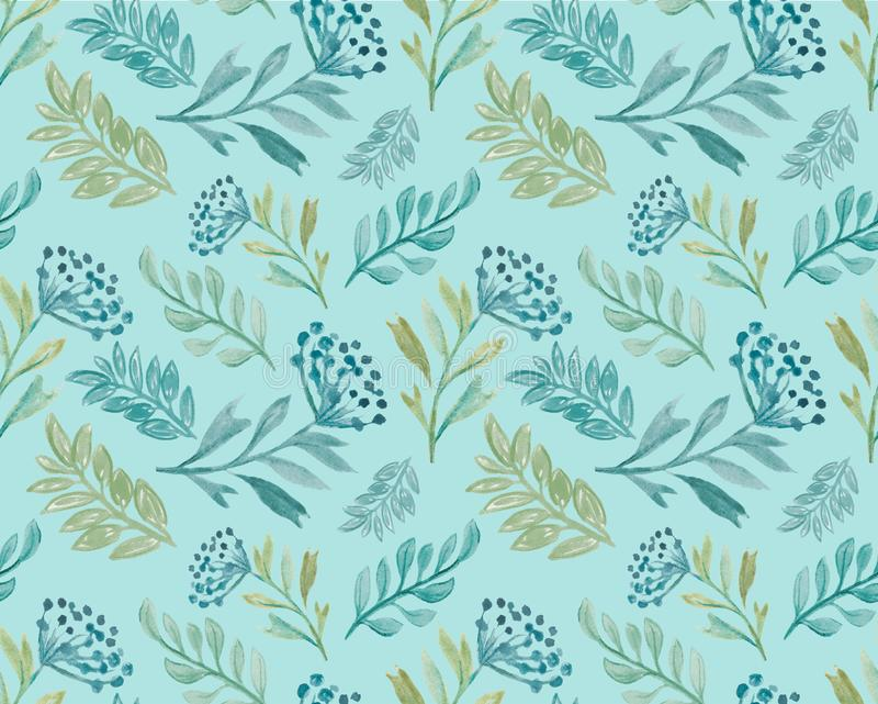 Teste padrão sem emenda floral do Watercolour com folhas e bagas ilustração do vetor