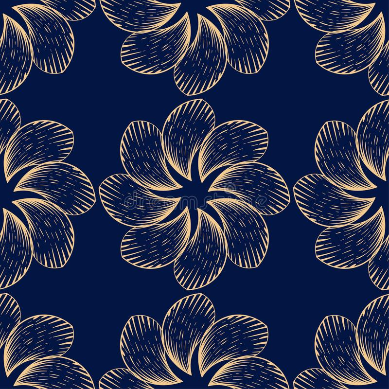 Teste padrão sem emenda floral dourado no fundo azul ilustração do vetor