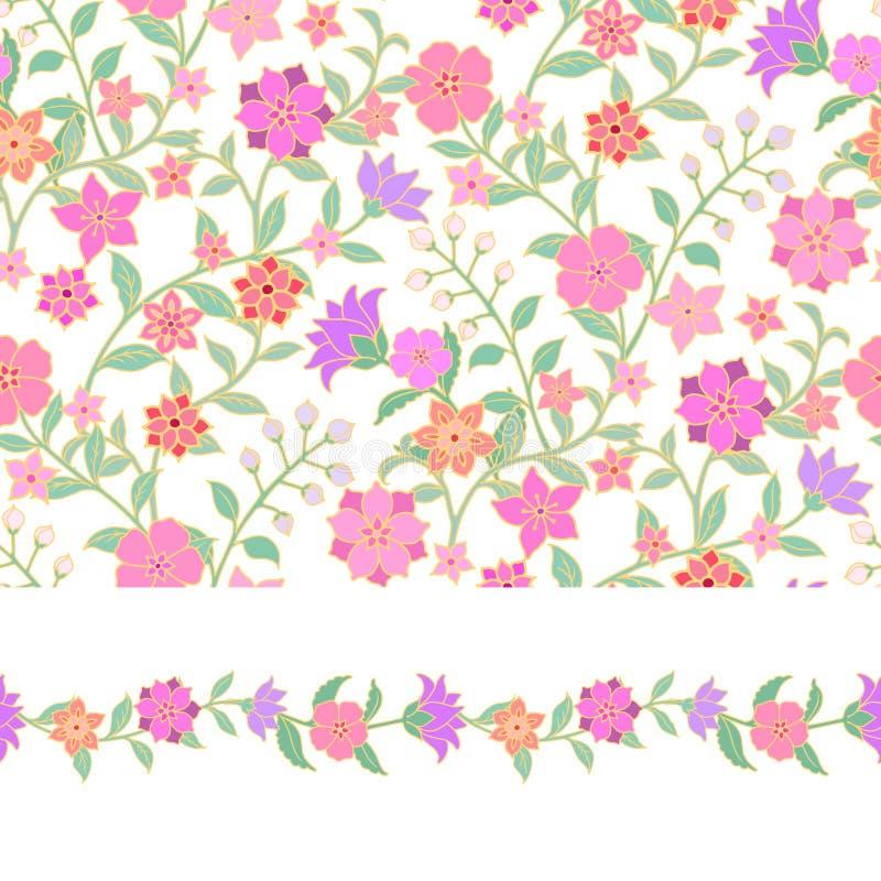 Teste padrão sem emenda floral e beira ilustração do vetor