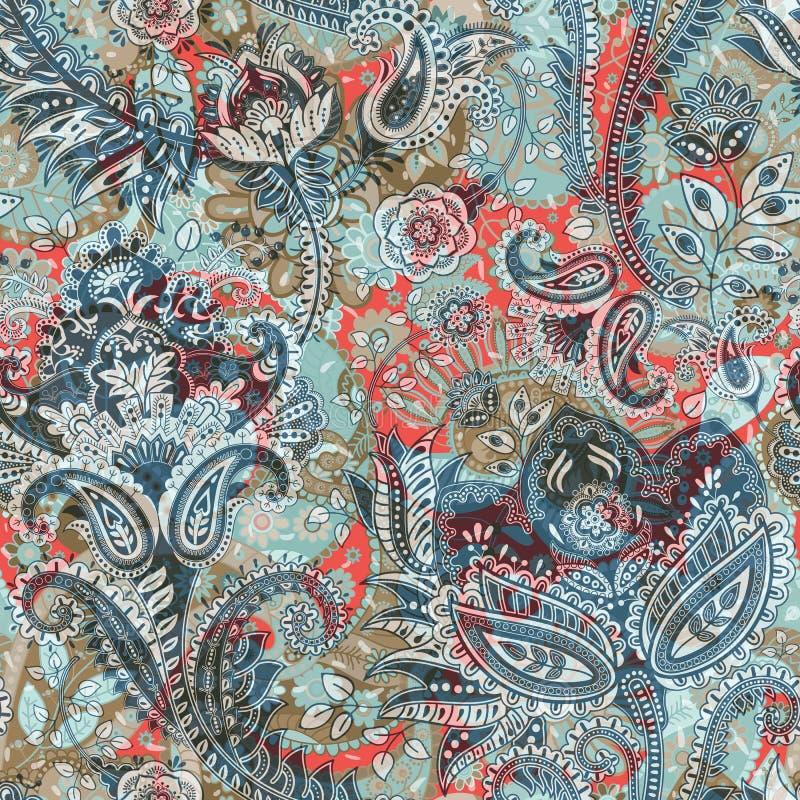 Teste padrão sem emenda floral, efeito da textura Ornamento colorido indiano Flores e Paisley decorativos do vetor Estilo étnico ilustração stock
