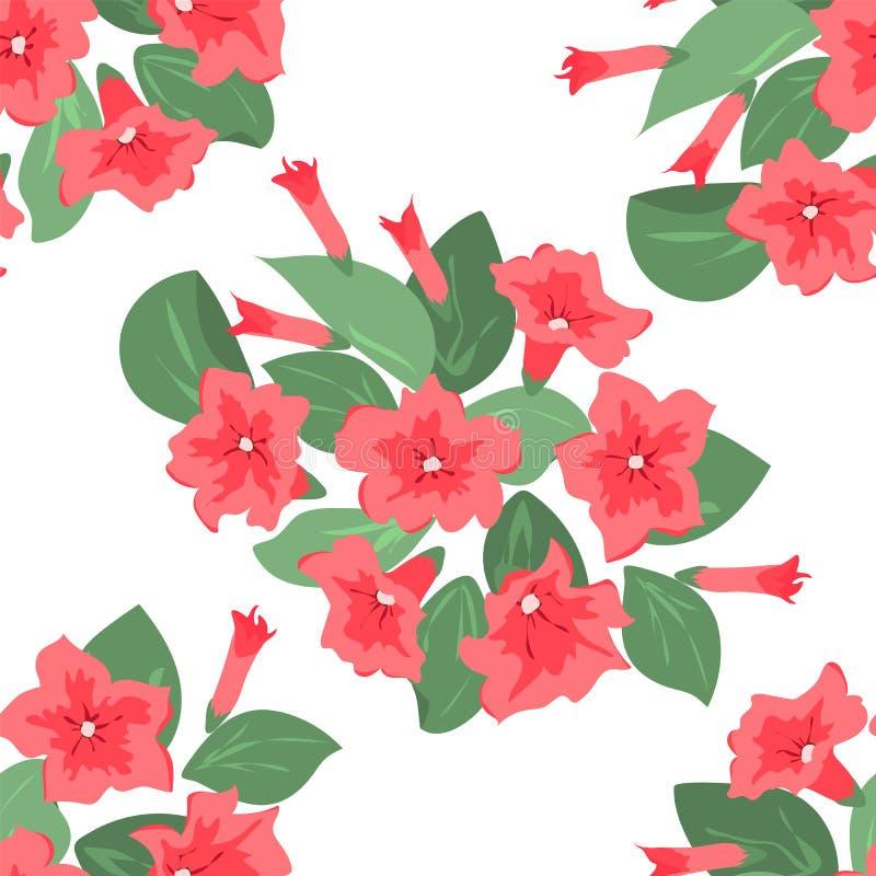 Teste padrão sem emenda floral em flores cor-de-rosa para a cópia de matéria têxtil, capa do livro, papel de parede, fabricação,  ilustração stock