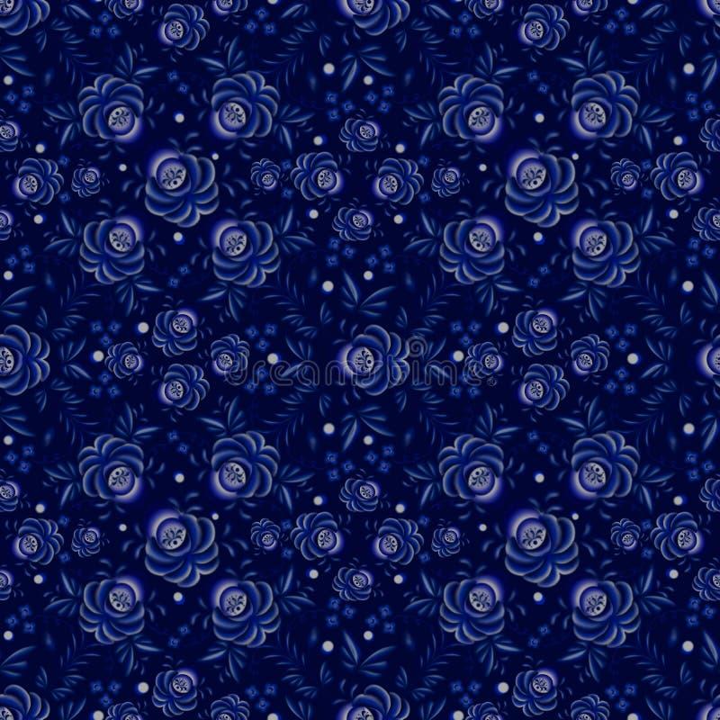 Teste padrão sem emenda floral em uma obscuridade - fundo azul ilustração stock