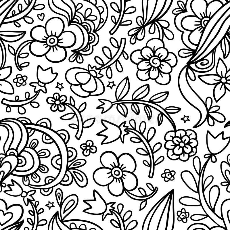 Teste padrão sem emenda floral encaracolado gráfico decorativo, teste padrão infinito monocromático ilustração royalty free