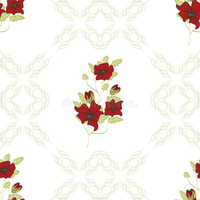 Teste padrão sem emenda floral Entregue flores abstratas tiradas do inclinação com decoração da garatuja Projeto artístico colori ilustração stock