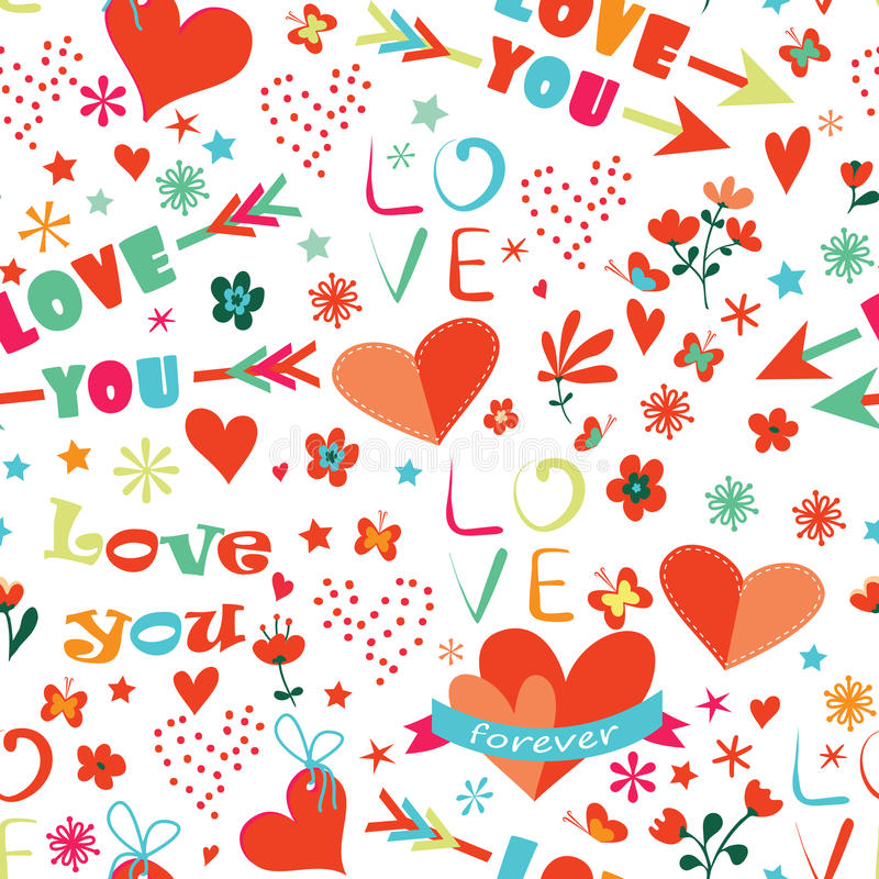 Teste padrão sem emenda floral feliz do dia de Valentim ilustração do vetor