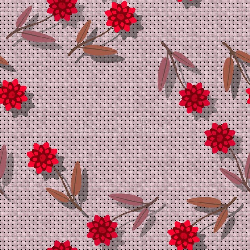 Teste padrão sem emenda floral - flor decorativa na textura rendida de matéria têxtil - colagem digital ilustração royalty free