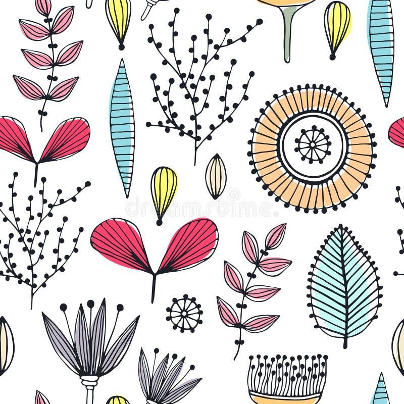 Teste padrão sem emenda floral Flores criativas tiradas mão linhas e tiras Abstraia ervas esboço Projeto creativo ilustração royalty free