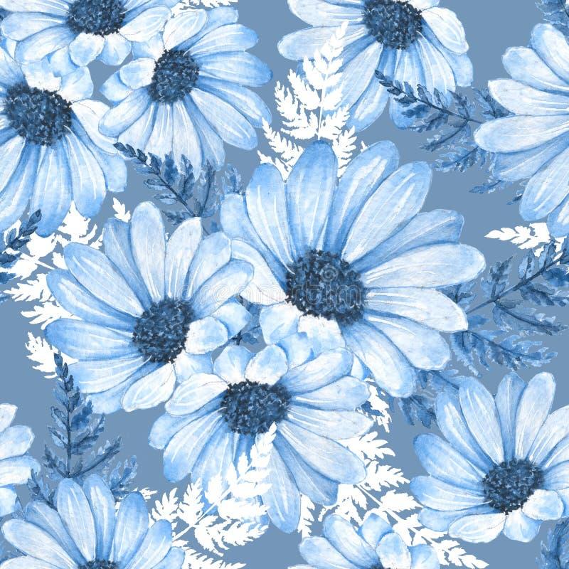 Teste padrão sem emenda floral Flores 8 da aquarela ilustração stock