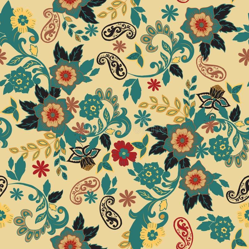 Teste padrão sem emenda floral Flores isoladas tiradas mão com leafes ilustração stock