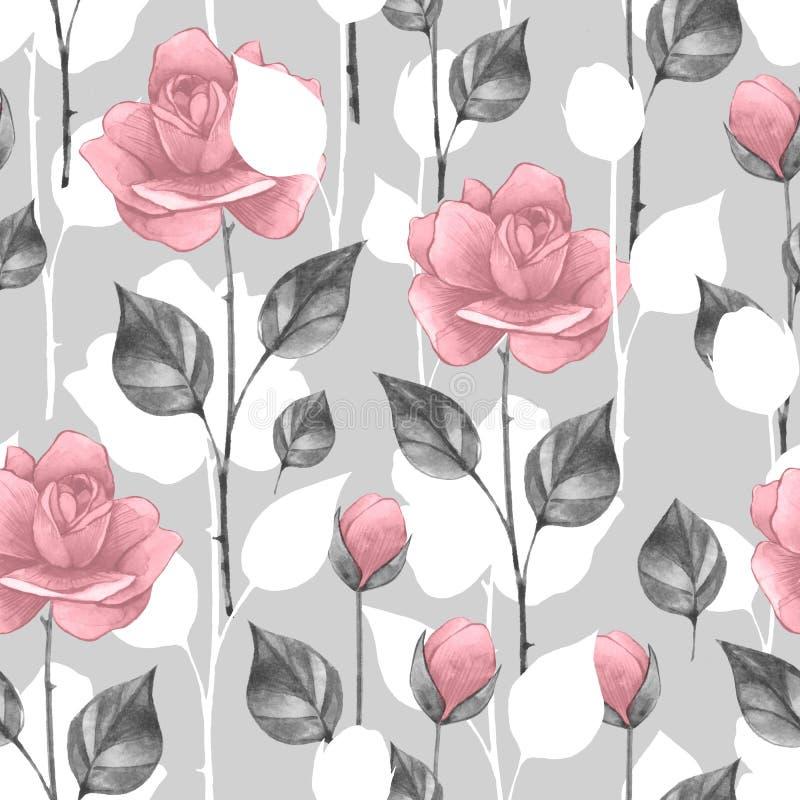 Teste padrão sem emenda floral 8 Fundo da aquarela com rosas ilustração do vetor