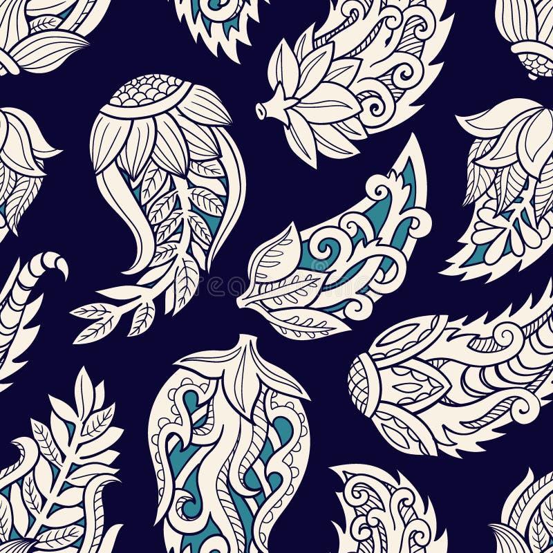 Teste padrão sem emenda floral Fundo do vetor da garatuja com flores, folhas Ornamento indiano, estilo da hena ilustração do vetor