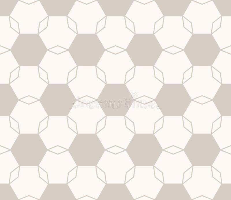 Teste padrão sem emenda floral geométrico mínimo do vetor Claro - cor marrom e bege ilustração stock