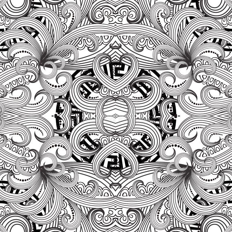 Teste padrão sem emenda floral grego Fundo preto e branco abstrato do vetor Linha flores tiradas mão do tracery da arte, folhas l ilustração do vetor