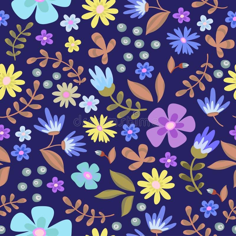 Teste padrão sem emenda floral Grinalda retro bonito das flores ilustração do vetor