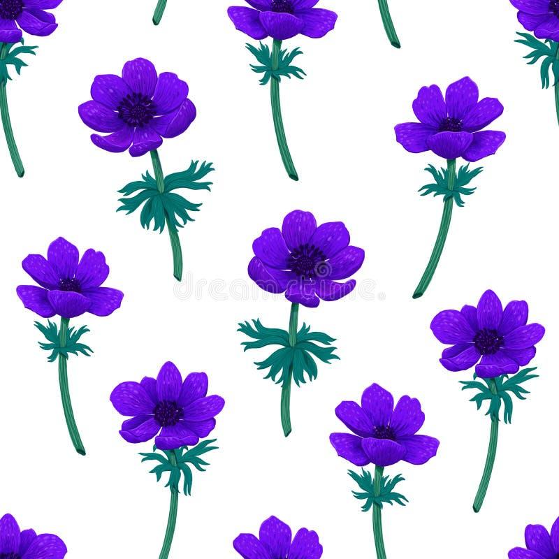 Teste padrão sem emenda floral Ilustração digital do lápis azul da cor do teste padrão das anêmonas Coleção do projeto botânico ilustração do vetor
