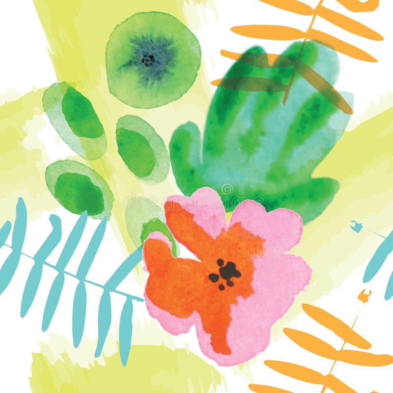 Teste padrão sem emenda floral moderno na técnica da aquarela ilustração do vetor
